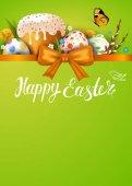 Fotografie Osterkarte mit verzierten Eier
