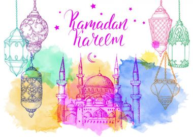 Template greeting card with Ramadan Kareem