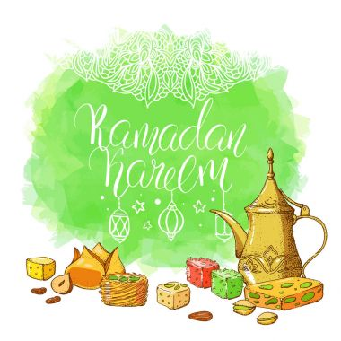 Template greeting card with Ramadan Kareem