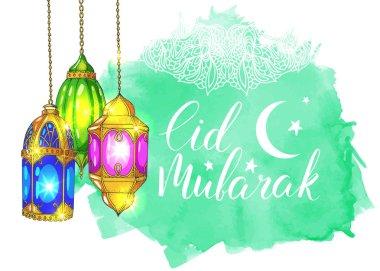 greeting card with Eid Mubarak