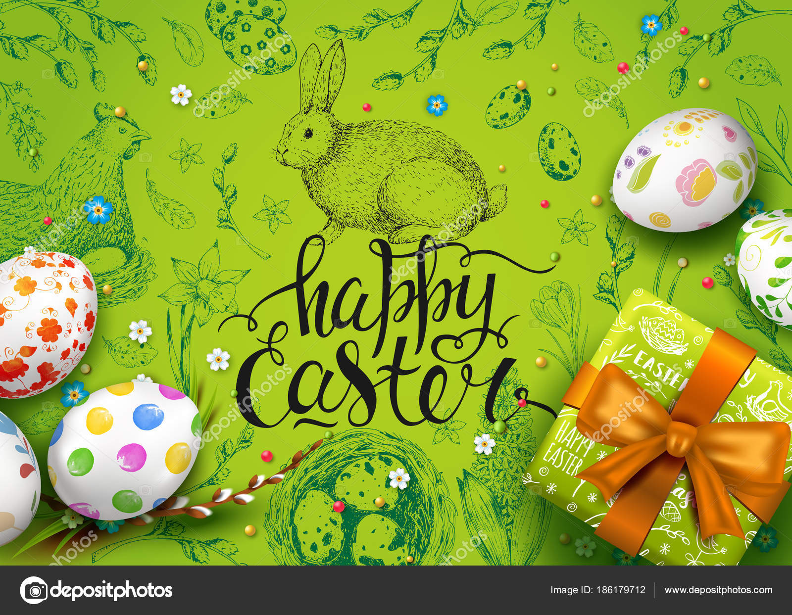 Vector card realistic eggs gift box flowers handwriting inscription vector card with realistic 3d eggs gift box and flowers handwriting inscription happy easter green background willow twigs lettering calligraphy negle Gallery