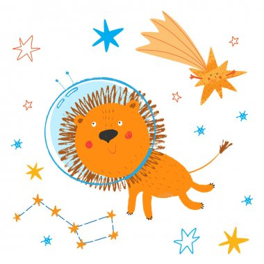Cute smiling lion fly in open space. Print for kids. African animal in sky. Cosmos background. Stars, constellations and comet. Funny cartoon children illustration. Vector hand drawn clipart.