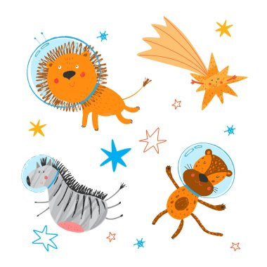 Cute smiling zebra, lion, leopard fly in open space.  African animals in sky. Cosmos background. Stars and comet. Funny cartoon children illustration. Vector hand drawn clipart. Kids print.