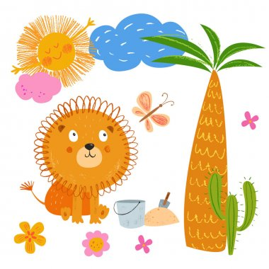Smiling lion near the palm tree. Cute African animal. Vector sunny background. Hand drawn illustration. Pencil brush texture. Funny  Baby animal. Hand Drawn kids cartoon character.