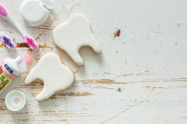 Teeth shaped cookies background
