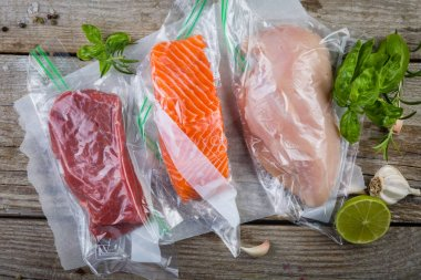 Beef, chicken and salmon in vacuum plastic bag for sous vide cooking