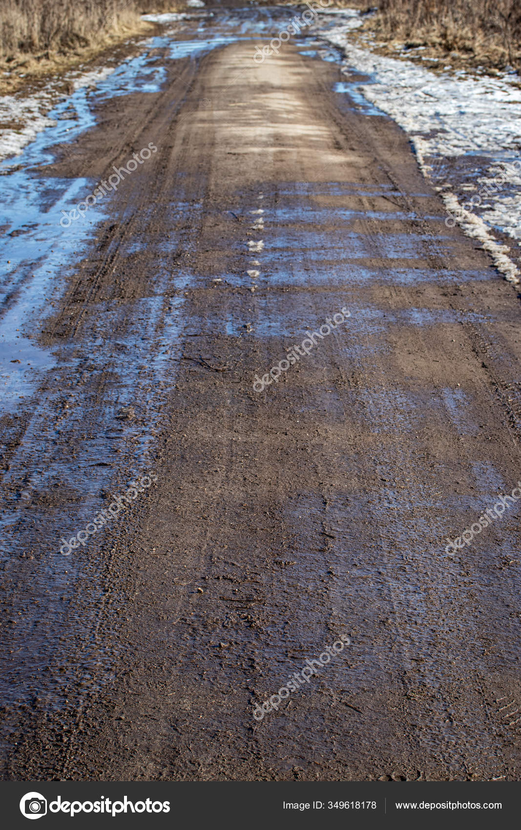 Dirty Asphalt Road Tire Tracks Spring Road Stock Photo C Yemelyanov 349618178