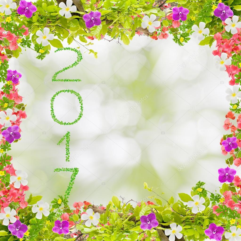 Hojas de color verde hermoso marco con flores y el año 2017 de ...