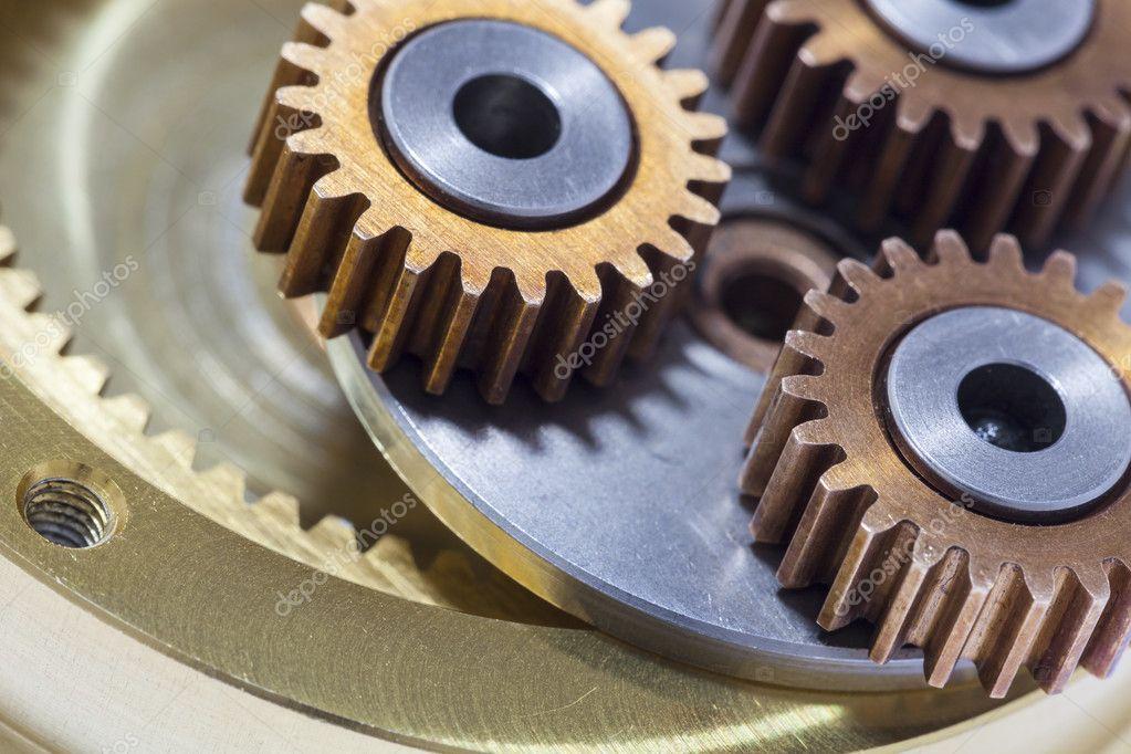 Rewelacyjny Zbliżenie przekładnie metalowe koła i kółka zębate — Zdjęcie VR83