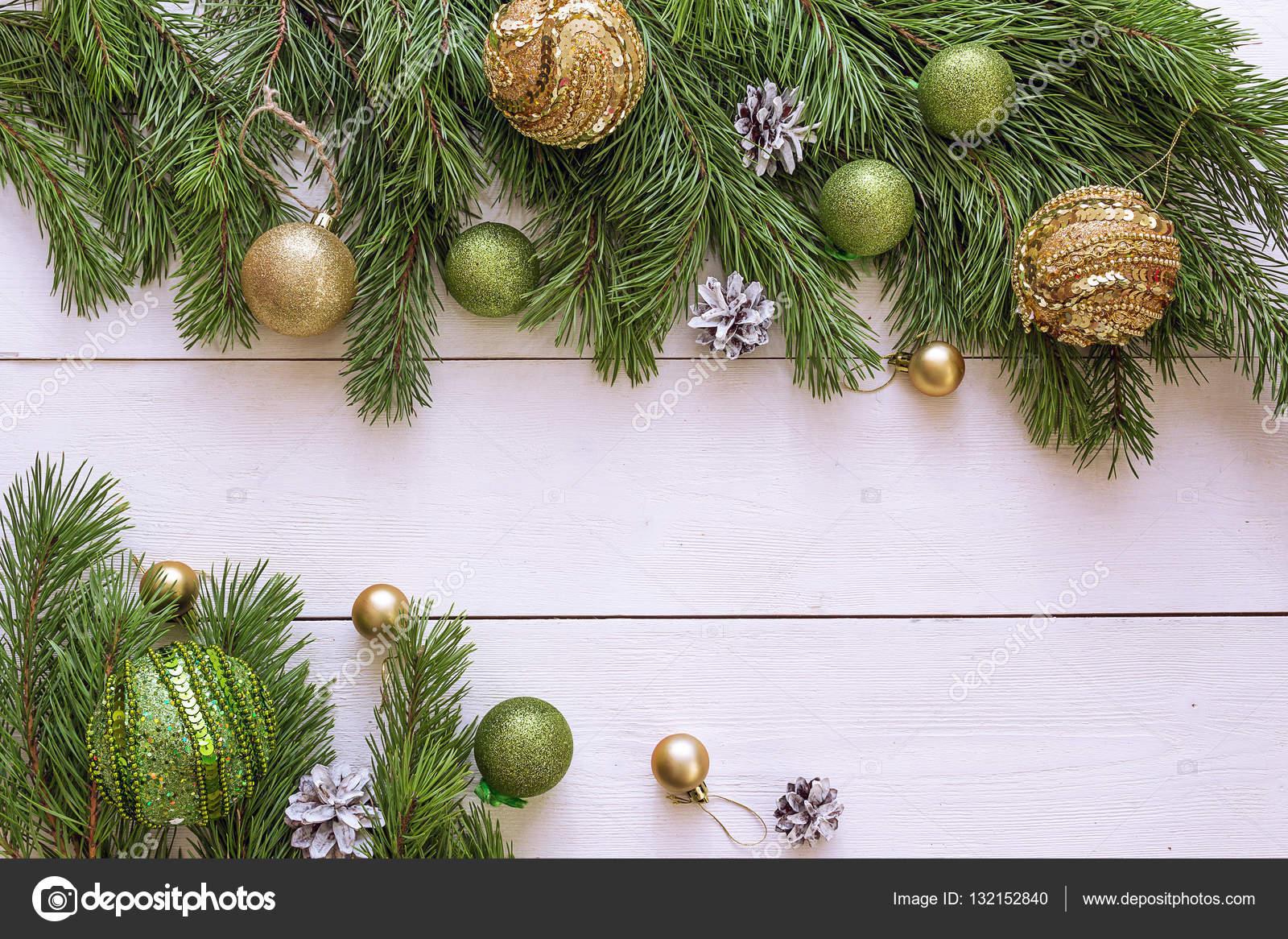Fond De Noël Avec Bordure De Branches De Sapin Et