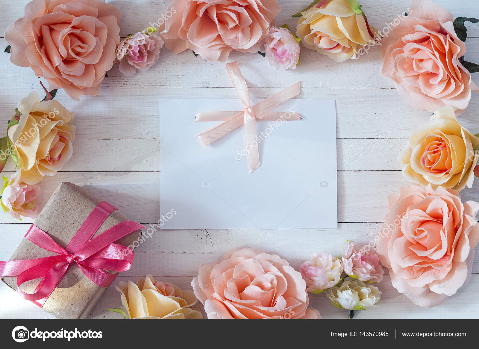 White blank card with a pink ribbon gift box and rose flowers o white blank card with a pink ribbon gift box and rose flowers o stock mightylinksfo