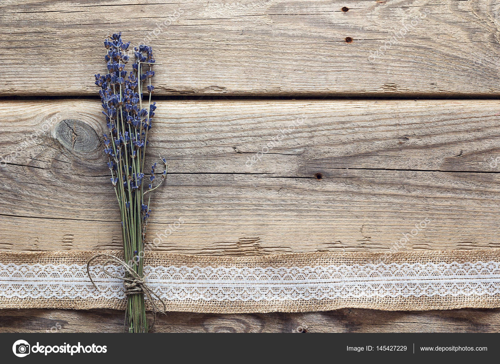 Lavender Flowers Bouquet On Rustic Wooden Background Stock Photo