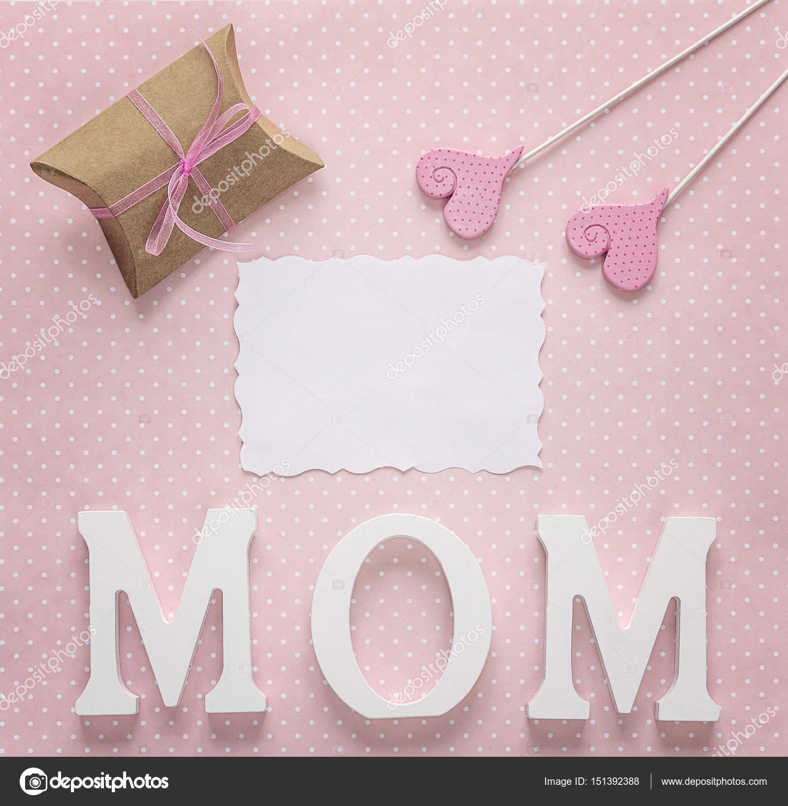 0378084653 Üres papír kártya anyák napi üzenet a rózsaszín pöttyös — Stock Fotó ...