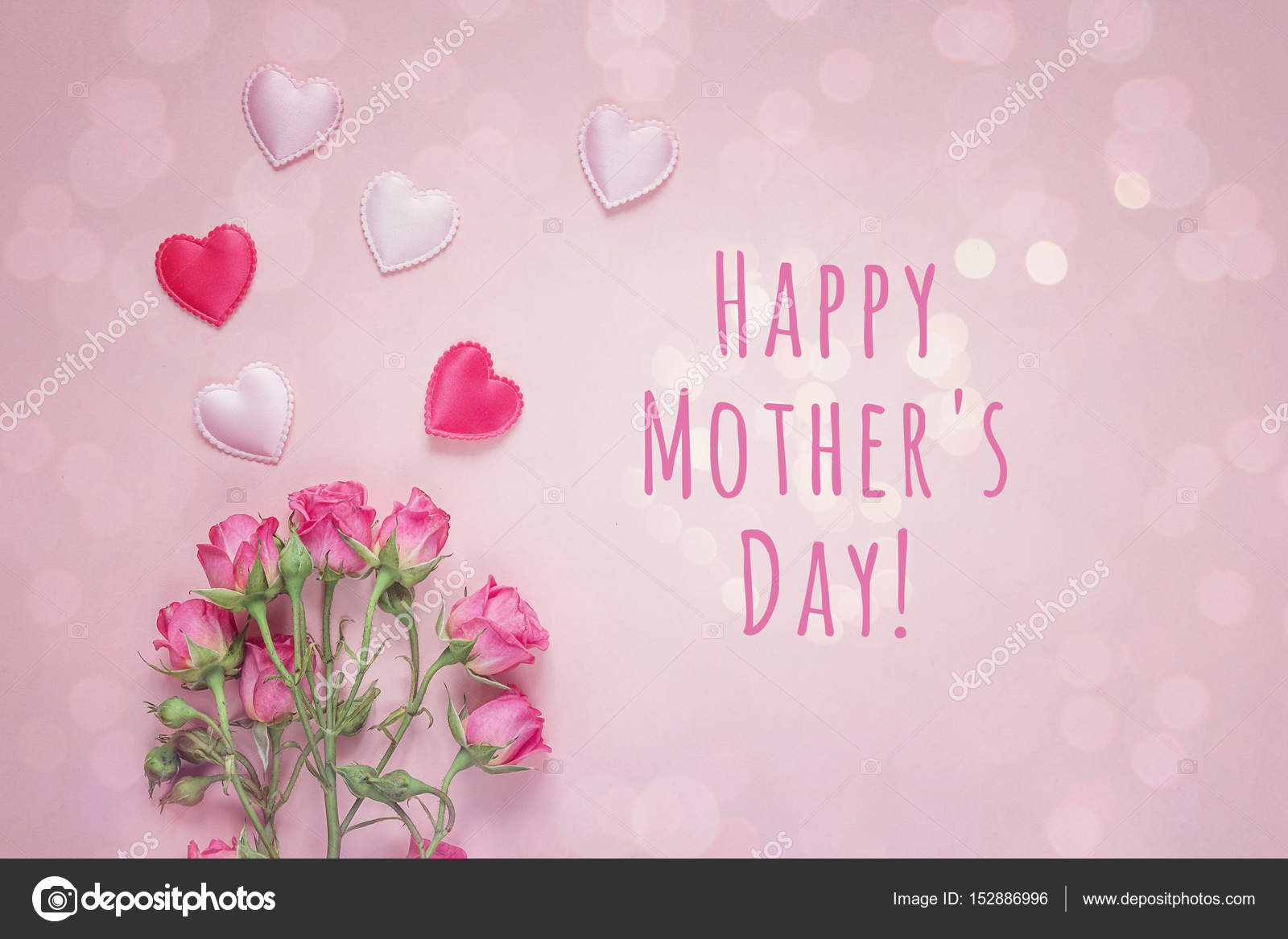 Mothers Day Message With Bouquet Of Roses And Hearts On A Pink B
