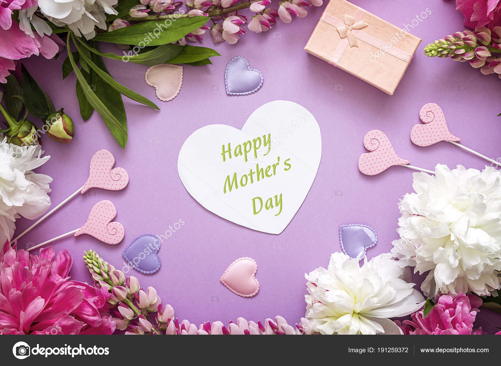 Mothers day greeting message with peonies gift box and decorati mothers day greeting message with peonies gift box and decorati stock photo m4hsunfo