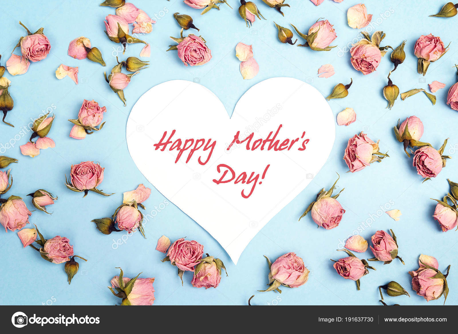 Mothers Day Greeting Message With Small Pink Roses On Blue Backg