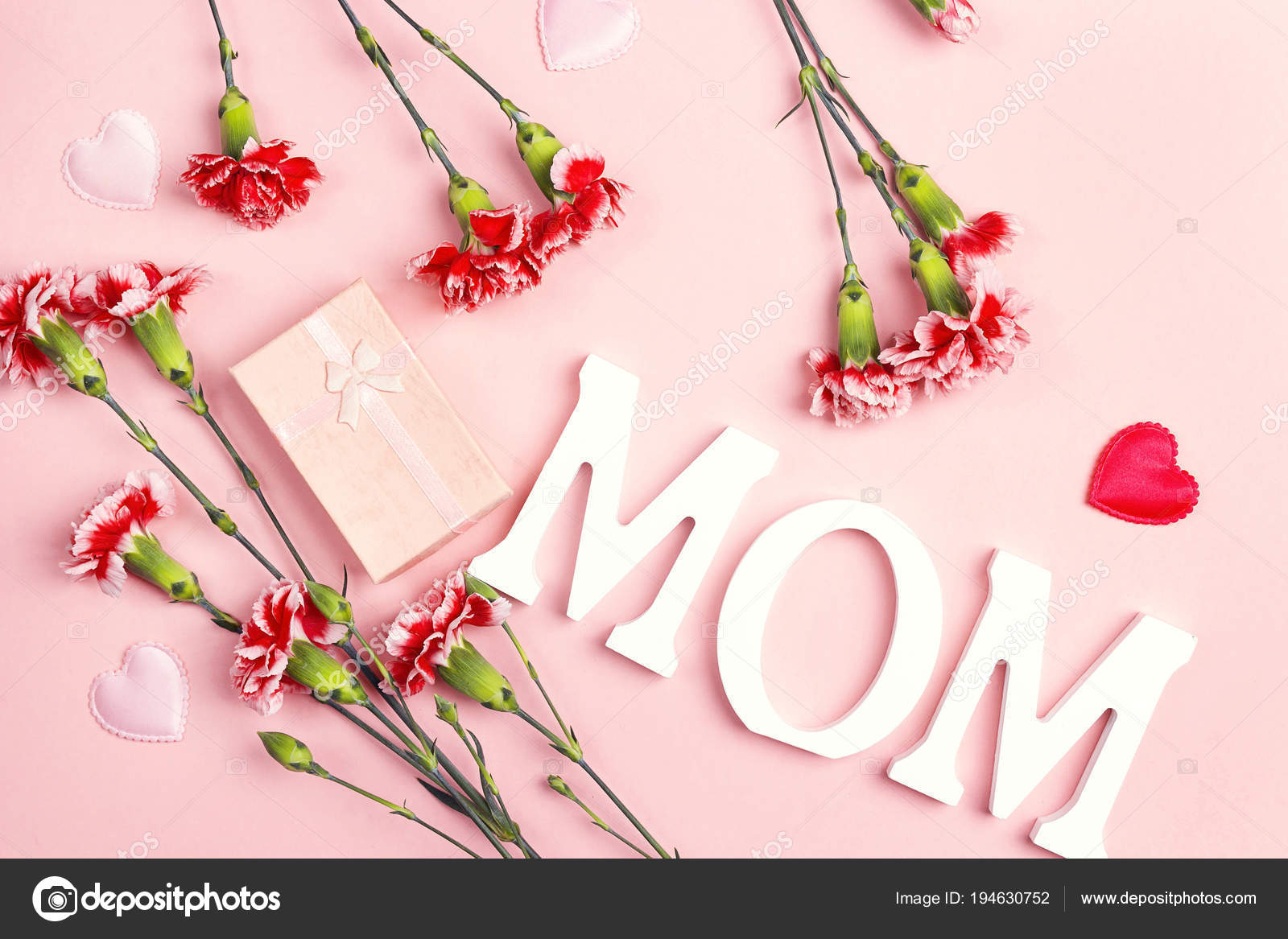 Mother S Day Background With Carnation Flowers And Gift Box On P