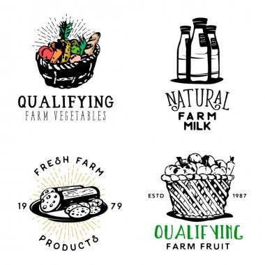 Set of fresh farm food badges in vintage style