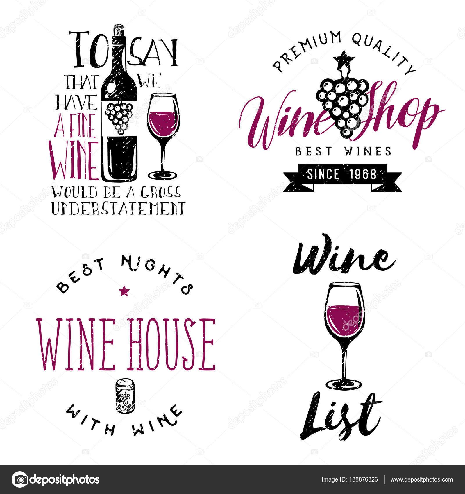 Wein unter dem Motto Abzeichen, Logos, Beschriftungen im Vintage ...