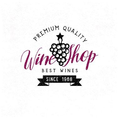 Wine Shop vintage retro logo template