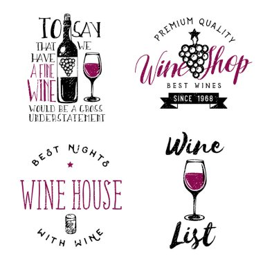 Wine themed badges, logos, labels in vintage style