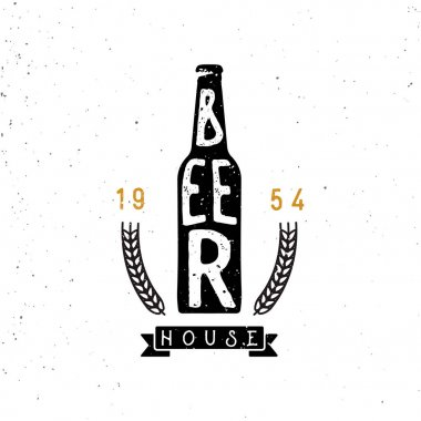 beer house emblem, lettering inside the beer bottle