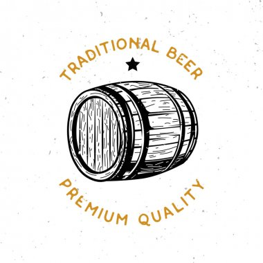 beer themed logo with wooden beer cask
