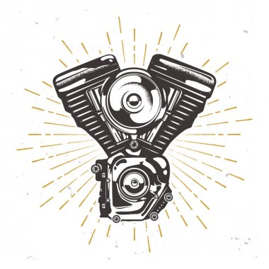 Vector custom garage logotype with chopper engine