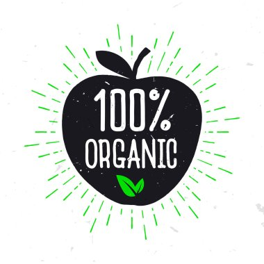 100% Organic - label for healthy food. Text inside the apple