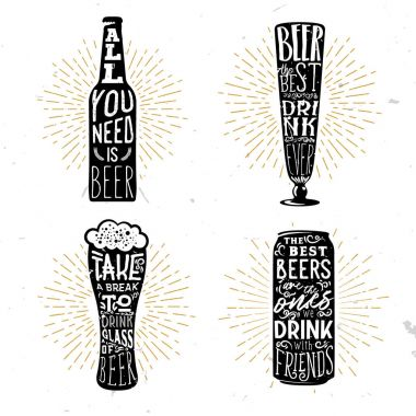 Set of four beer themed typographical badges with quotes