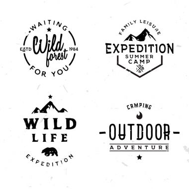 Set of outdoor logotypes in vintage style