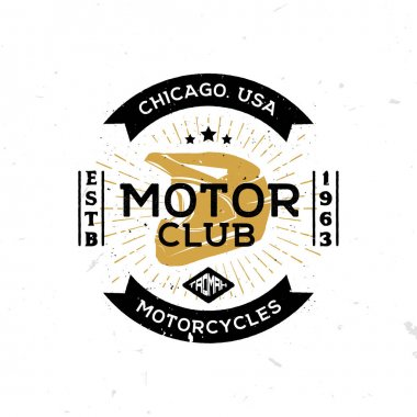 Vintage template of emblem of motor club with helmet in the middle.