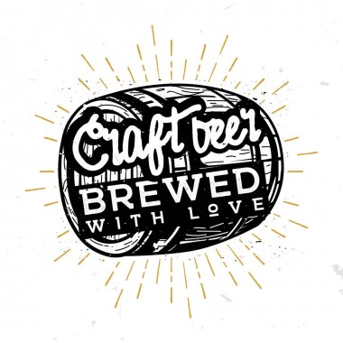 Craft beer, brewed with love - typographic illustration in vintage style, black and white illustration