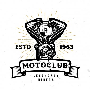 Motoclub emblem, badge, logo, label with high detailed motorbike engine in monochrome style