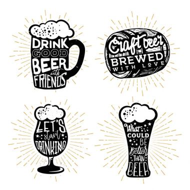 Typography design of beers. Texts in different beer themed objects
