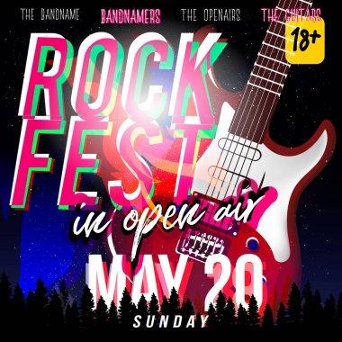 Rock fest in open air! Rock festival flyer, banner or poster