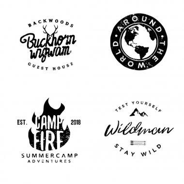 hand drawn wanderlust logotypes, wilderness badges