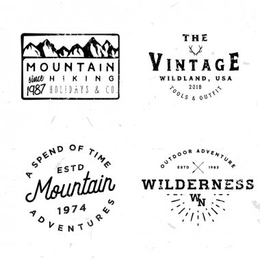 Bundle of wilderness badges, logos, design elements