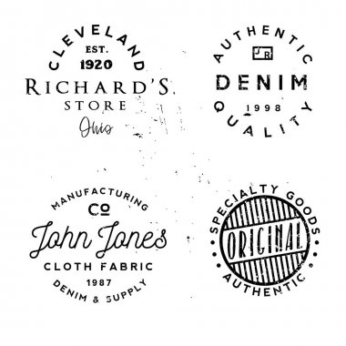 Vector clothing theme badges. in vintage typography style