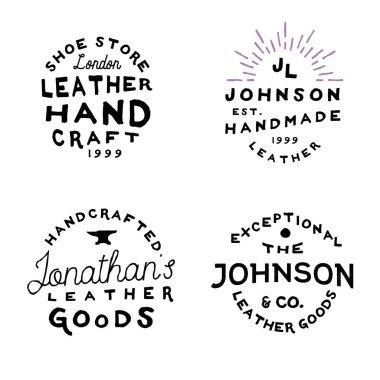 Leather goods workshop vintage logo, vector illustration