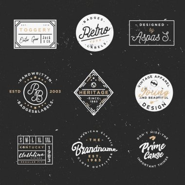Retro clothing badges in minimal vintage style
