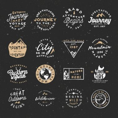 Outdoor retro logos bundle. Vector adventure logos pack with rough and distressed effect