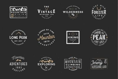 Set of mountain expedition badges, adventure labels. Vintage retro typography design