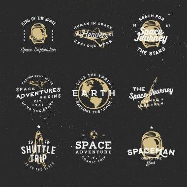 Retro badges on cosmic theme with space objects