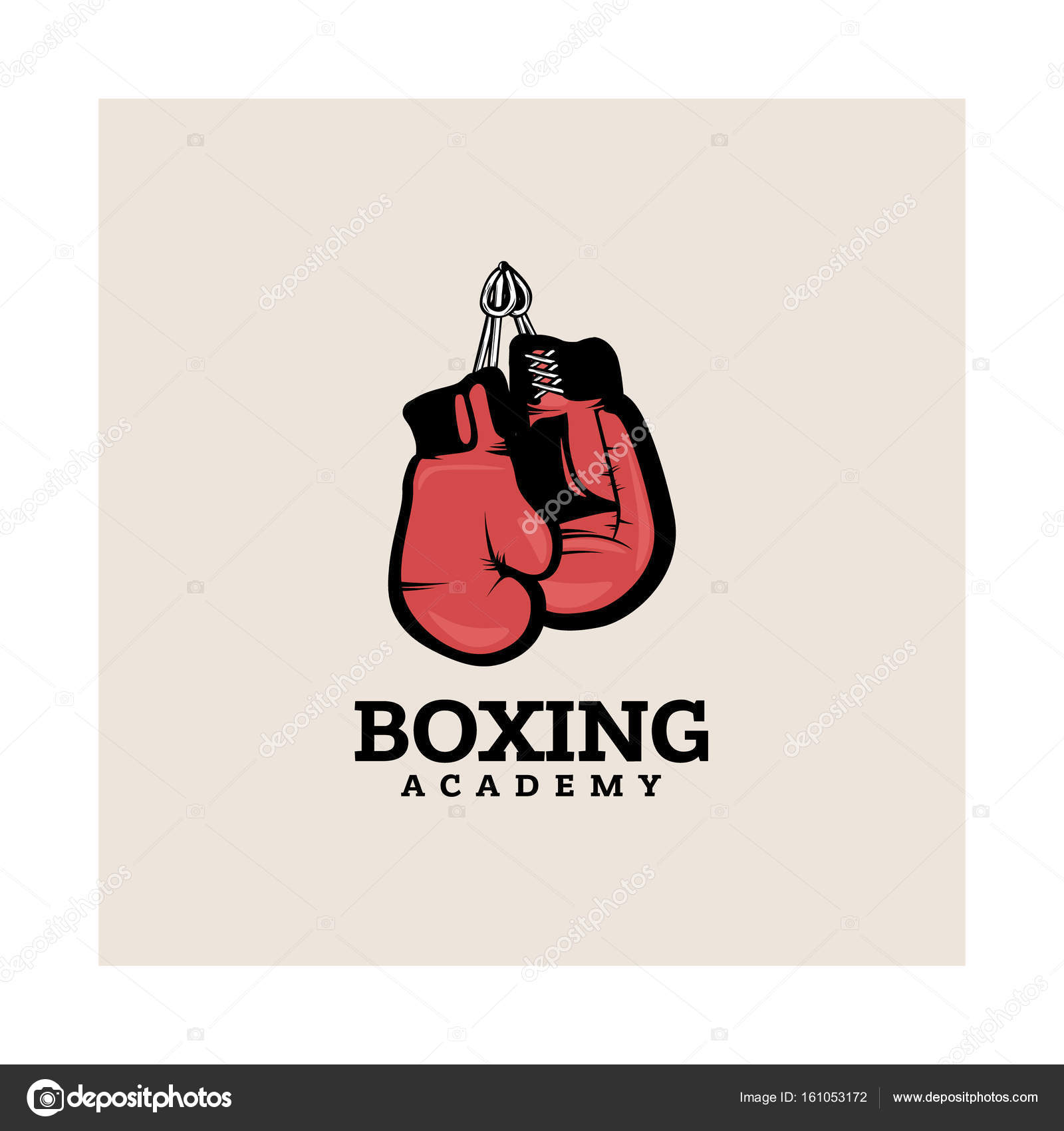 boxing logotype template with hanging boxing gloves stock vector