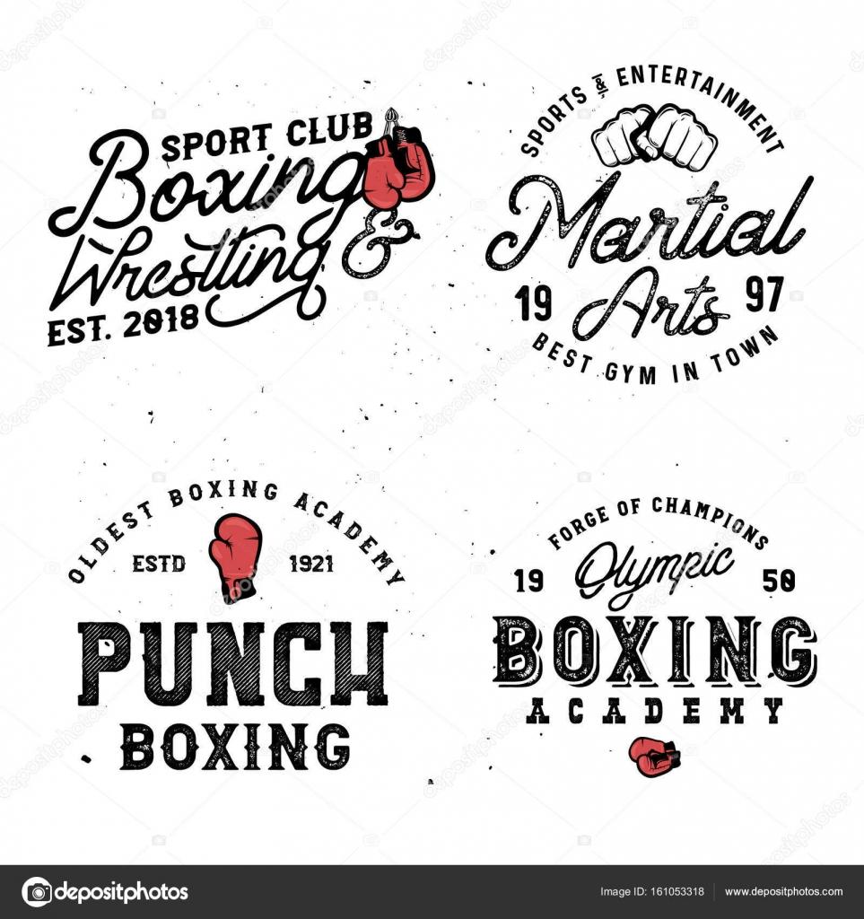 Boxen und Mma unter dem Motto Retro-Logo-Vorlagen im Vintage-Stil ...