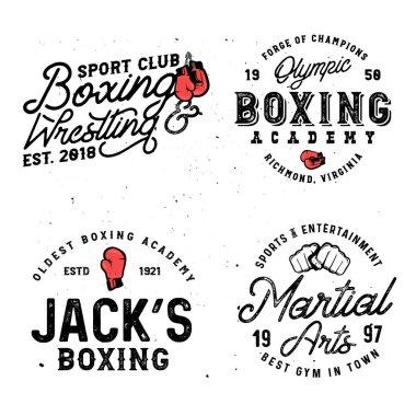 Set of boxing & mma themed retro logo templates