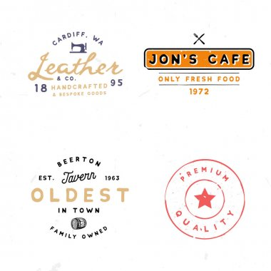 Tavern, leather goods, premium quality themed logotypes.