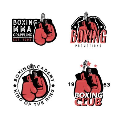 Boxing, MMA and martial arts themed badges.