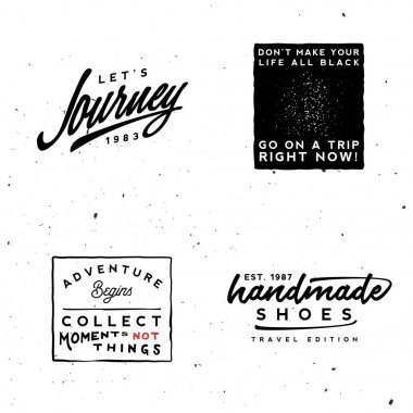 Journey logotypes templates. Inspirational and motivational quotes, retro minimal styled logos.